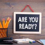 """""""Er du klar"""" skrevet på en tavle."""